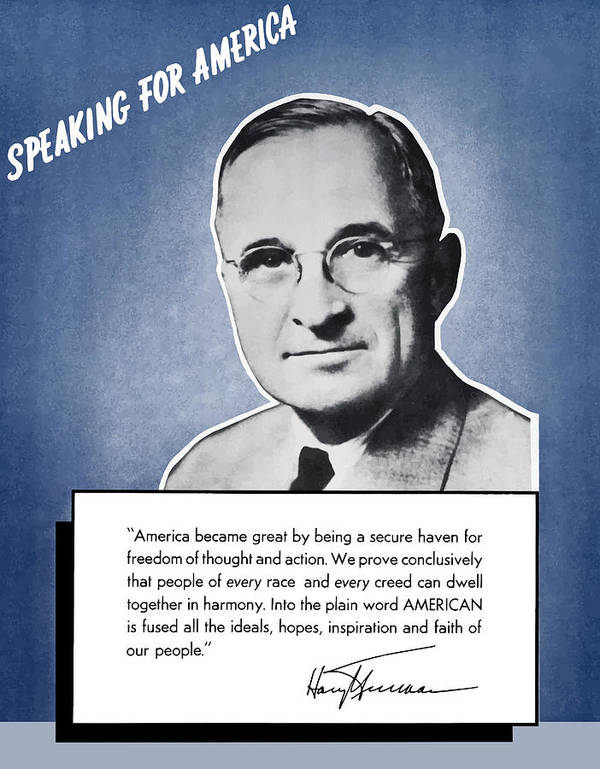 Harry Truman Art Print featuring the painting President Truman Speaking For America by War Is Hell Store