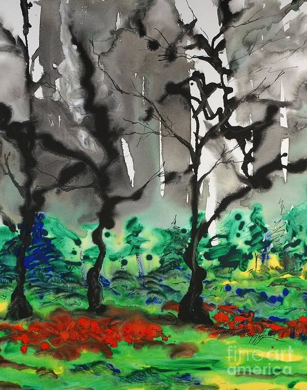 Forest Art Print featuring the painting Primary Forest by Nadine Rippelmeyer