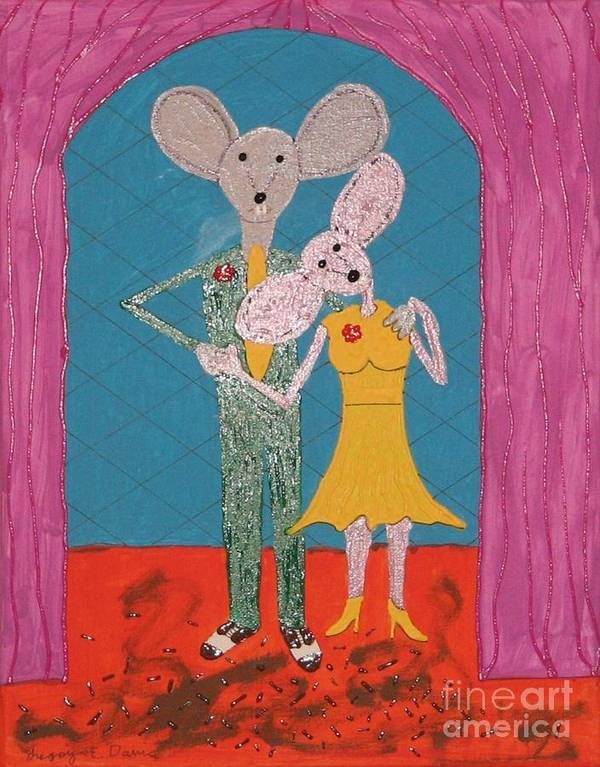 Mice Art Print featuring the painting Prom Mice by Gregory Davis