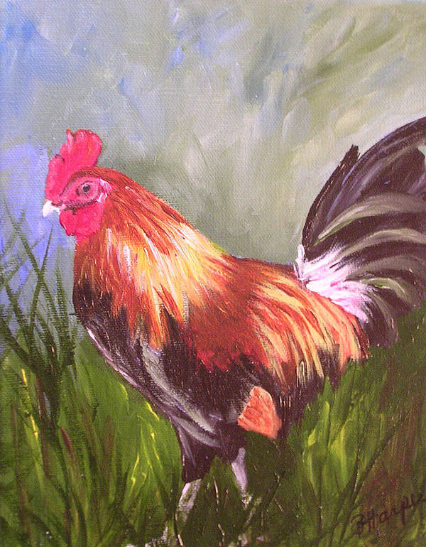 Rooster Art Print featuring the painting Proud Rooster by Barbara Harper