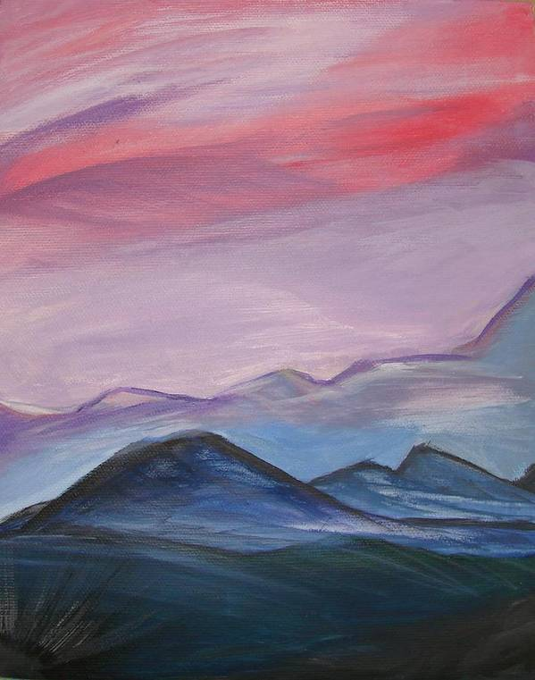 Mountain Art Print featuring the painting Purple Sky by Liz Vernand