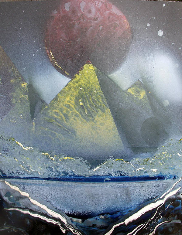 Pyramids Art Print featuring the painting Pyramids Of The Red Moon by Arlene Wright-Correll