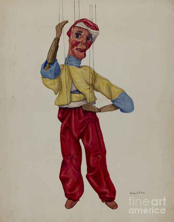 "Art Print featuring the drawing ""sinbad"" Marionette by George File"