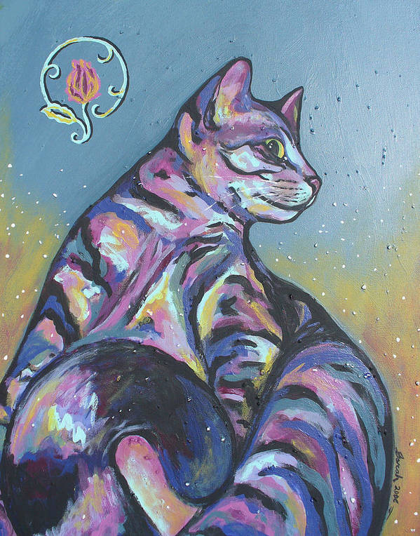 Cat Art Print featuring the painting Rainbow Tabby by Sarah Crumpler