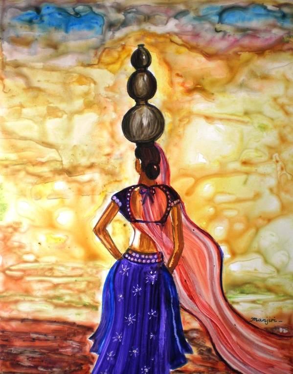 Rajasthani Women Lady Figurative Romantic Indian Village Pots Water Beauty Yupo Paper Art Print Featuring
