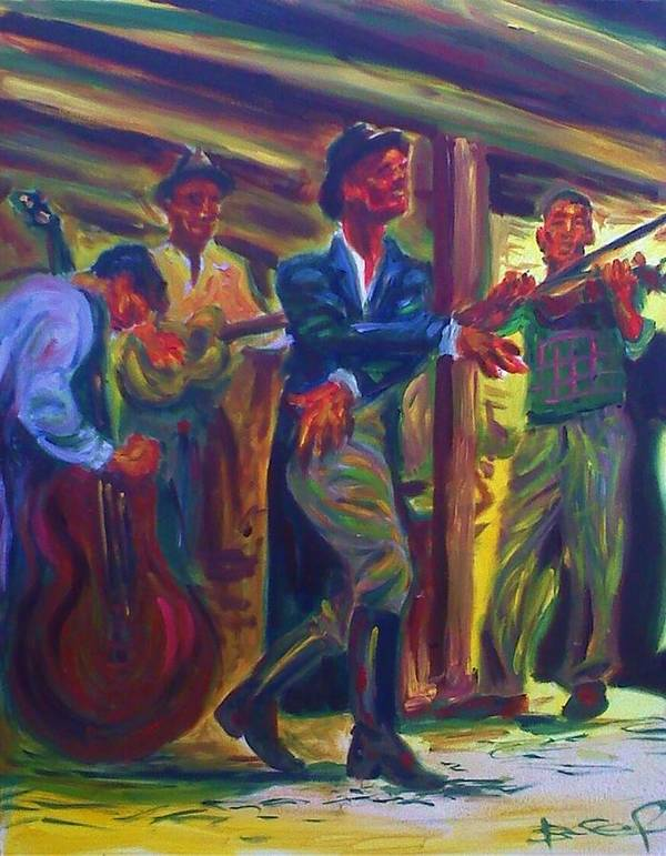 Dancing Art Print featuring the painting Raw Music by Brian Child