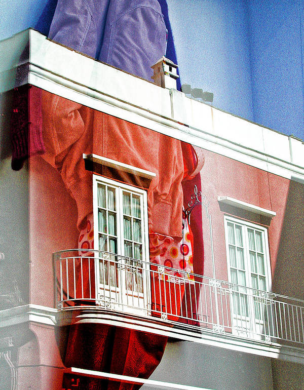 Balcony Art Print featuring the photograph Red And Blue by Marco Moscadelli