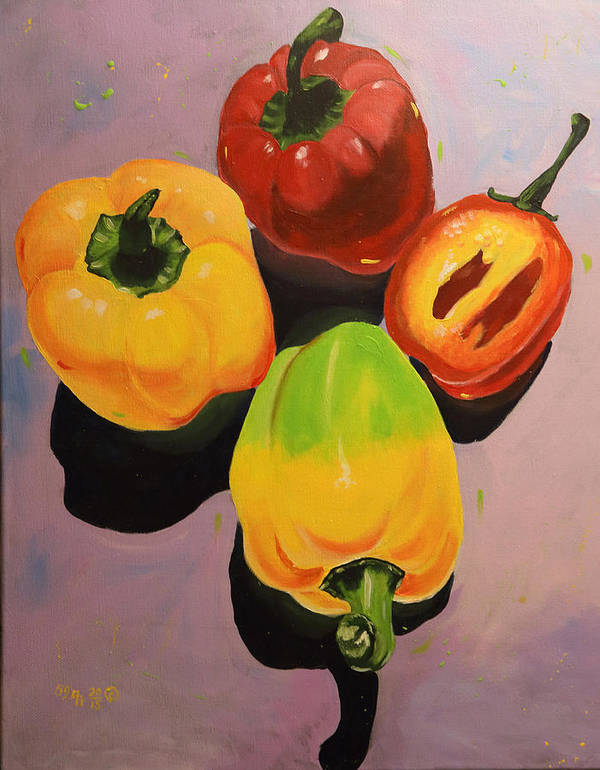 Still Life Art Print featuring the painting Red And Yellow Peppers by Ada Astacio