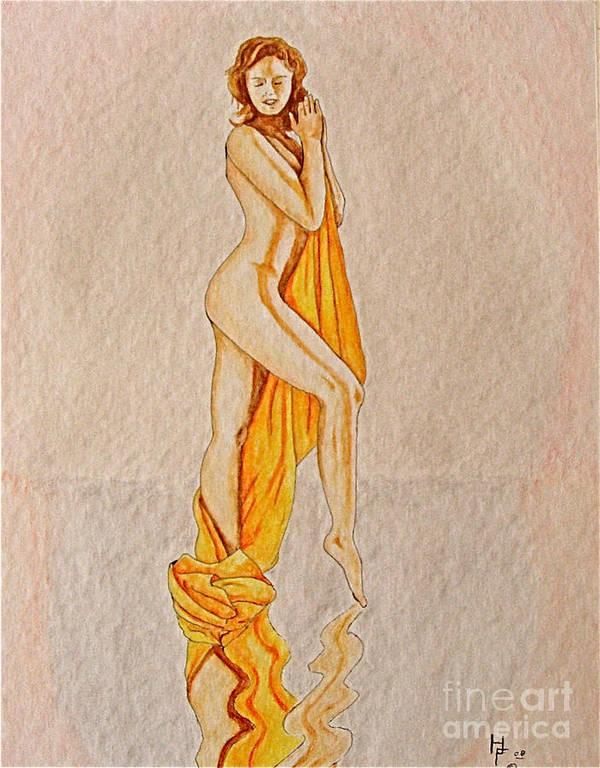 Nude Art Print featuring the painting Reflection by Herschel Fall