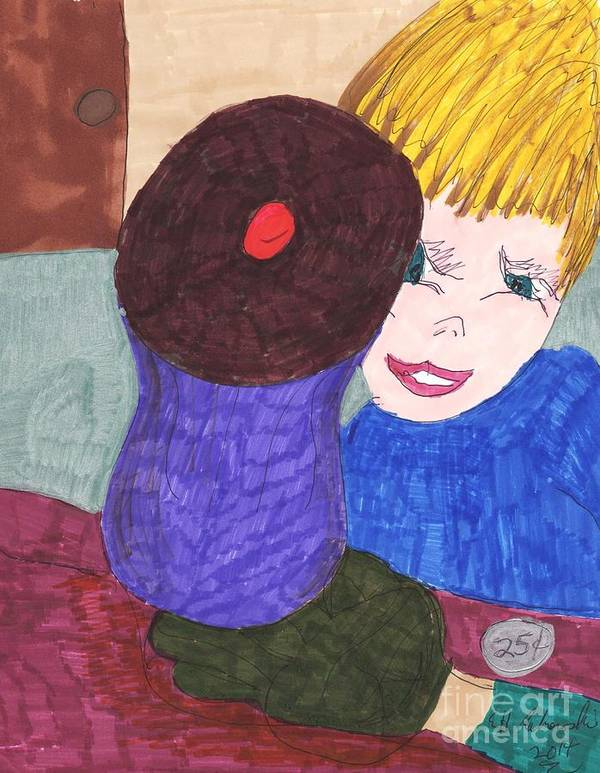 Cupcake With A Blonde Haired Blue Eyed Boy Looking At It Art Print featuring the mixed media Remember When A Cupcake Was A Quarter by Elinor Helen Rakowski