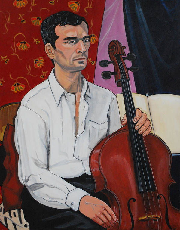 Figure Figurative Portrait Face Male Model Musician Cello Seated Head Torso Hands Chair Draperies Music White Shirt Black Hair Art Print featuring the painting Ricardo With Cello by Diana Blackwell