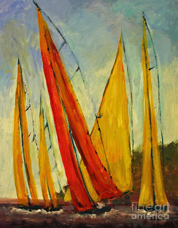 Sailboats And Abstract 2. Sailing Art Print featuring the painting Sailboat Studies 2 by Julie Lueders