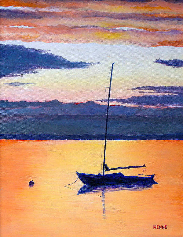 Sail Boat Art Print featuring the painting Sailboat Sunset by Robert Henne
