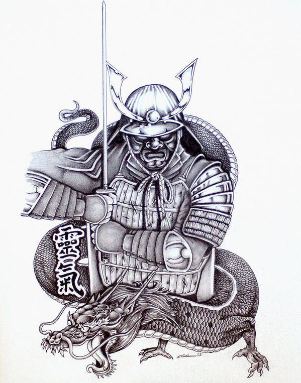 Pencil Art Print featuring the drawing Samurai Tattoo Design 1 by Kyle Adamache