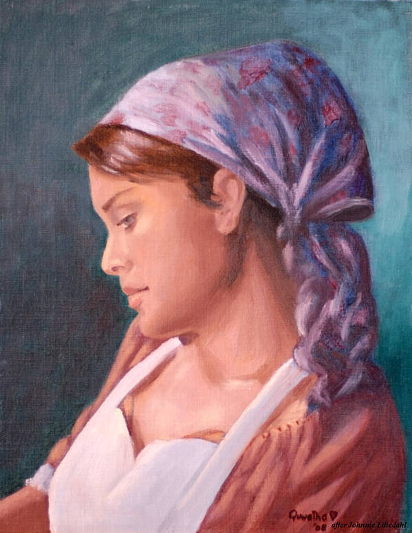 Maid Art Print featuring the painting Sarah The Kitchen Maid After Johnnie Liliedahl by Quwatha Valentine