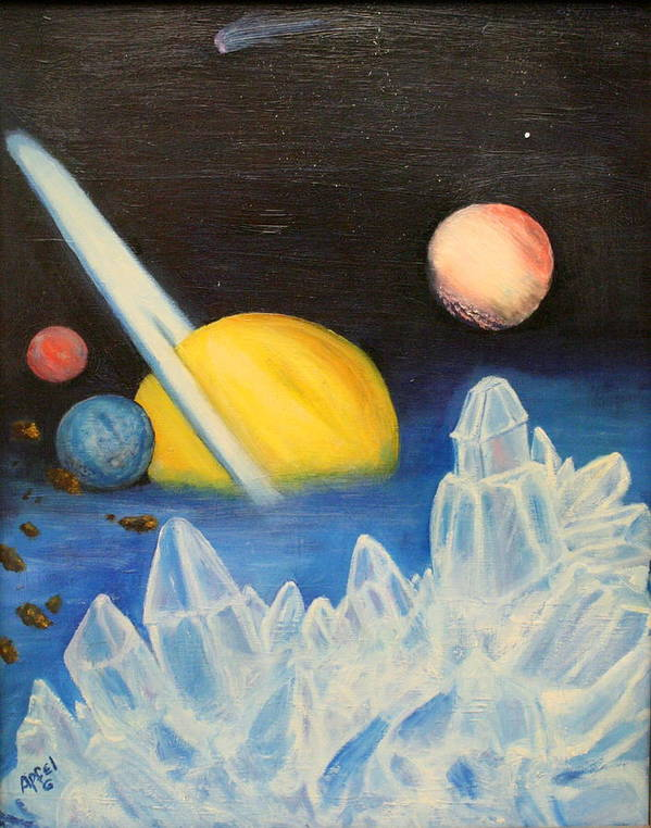 Planets.ice Art Print featuring the painting Saturn by Gloria M Apfel