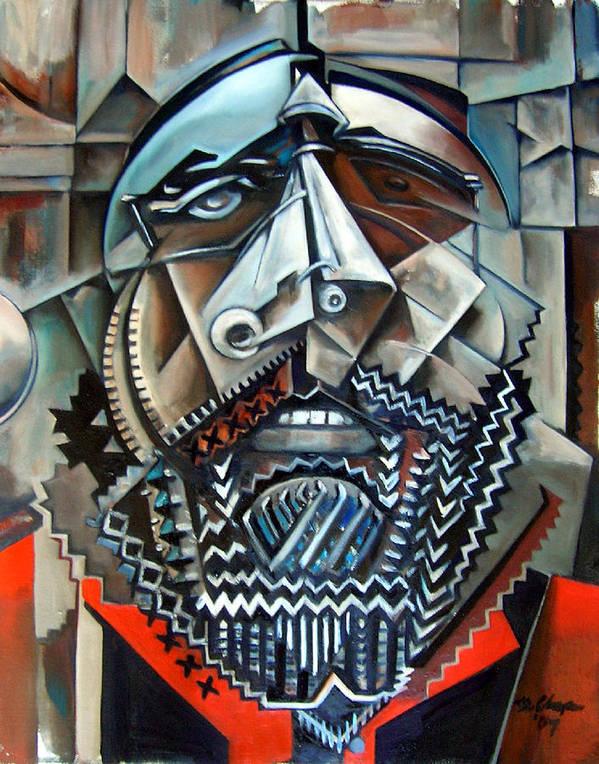 Sean Paint Poole Cubism Portrait Art Print featuring the painting Sean Poole by Martel Chapman