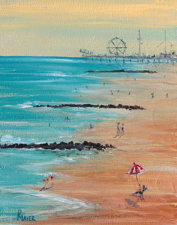 Beach Art Print featuring the painting Seaside by Pete Maier