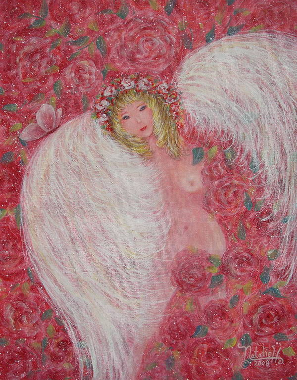 Angel Art Print featuring the painting Secret Garden Angel 6 by Natalie Holland