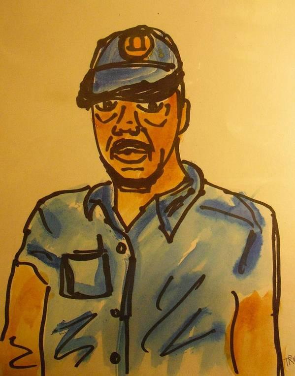 Artist Self Portrait Art Print featuring the drawing Self Portrait by Troix Johnson