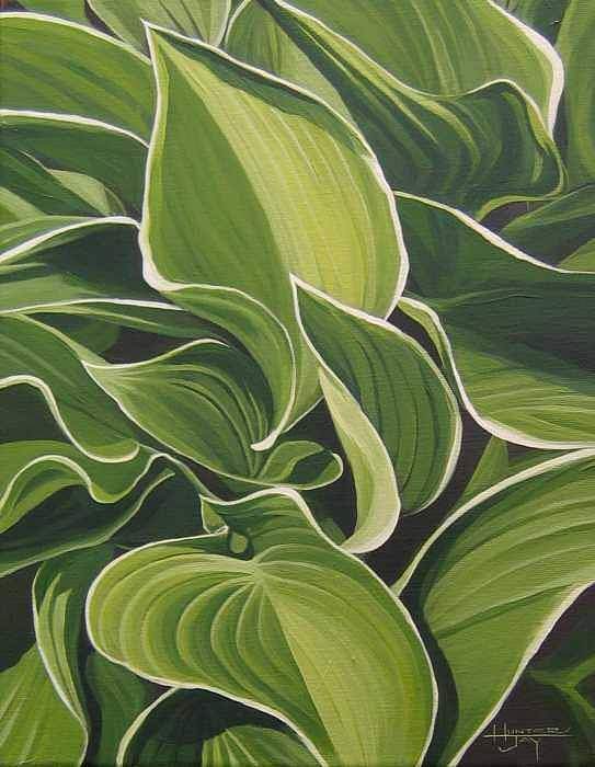 Closeup Of Hosta Plant Art Print featuring the painting Shapes That Go Together by Hunter Jay
