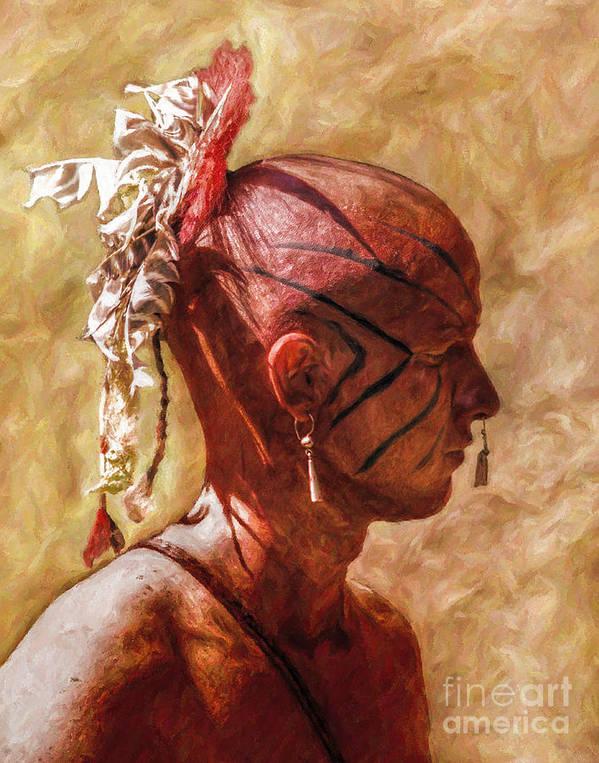 War Print featuring the digital art Shawnee Indian Warrior Portrait by Randy Steele