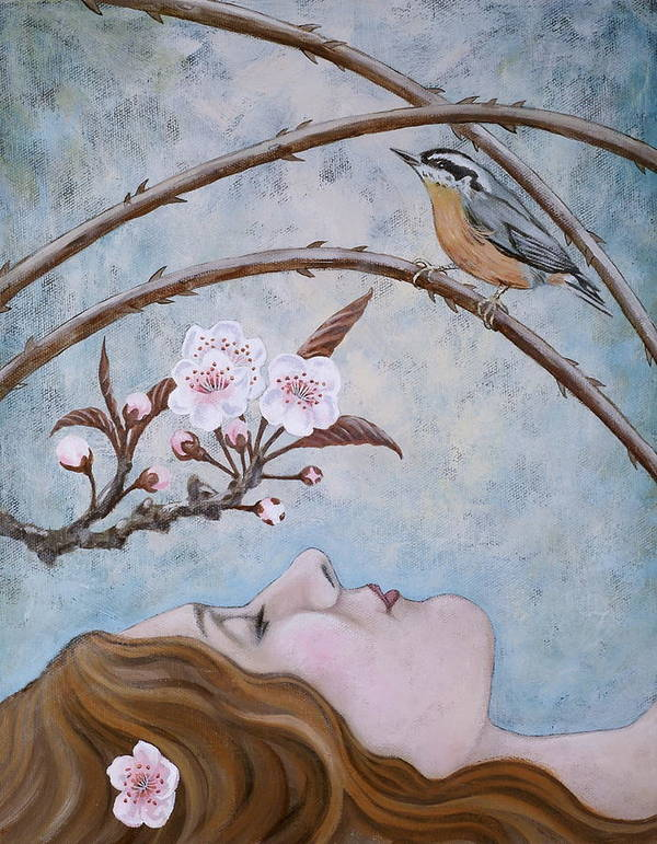 Red Created Nuthatch Print featuring the painting She Dreams The Spring by Sheri Howe
