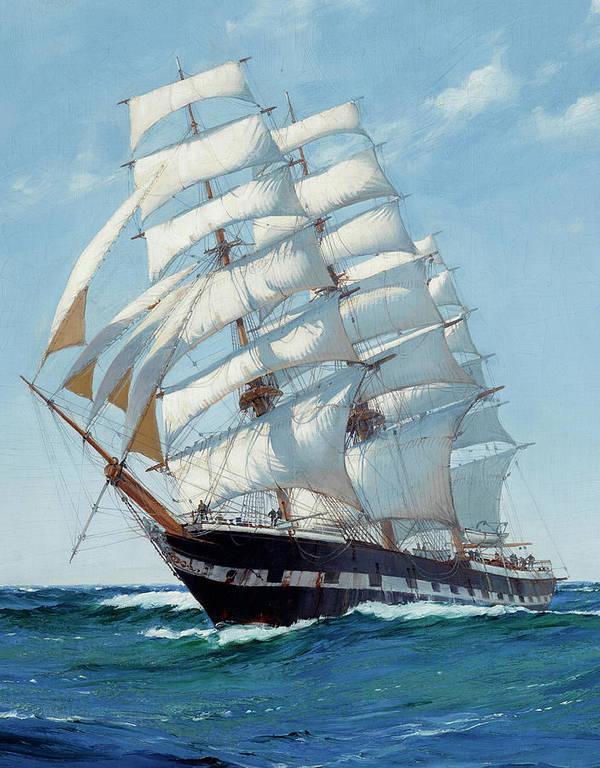 Horizon Art Print featuring the painting Ship Waimate - Detail by Montague Dawson