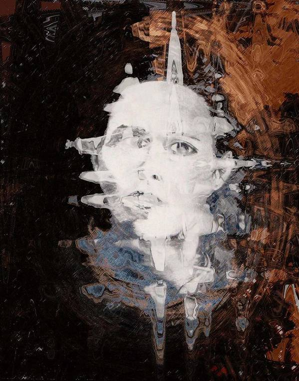 Portrait Art Print featuring the digital art Silenced by LeeAnn Alexander