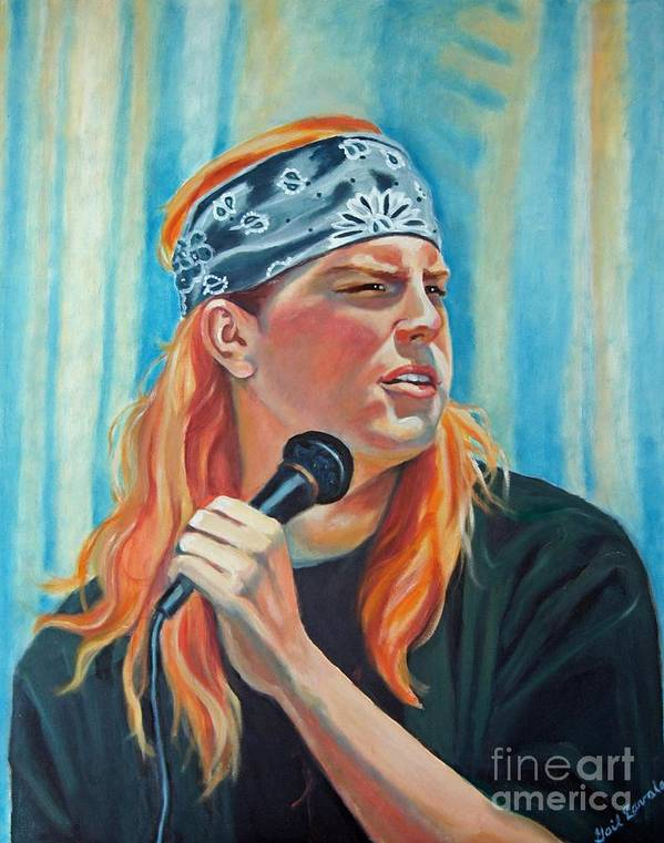 Portrait Art Print featuring the painting Singer For The Band by Gail Zavala