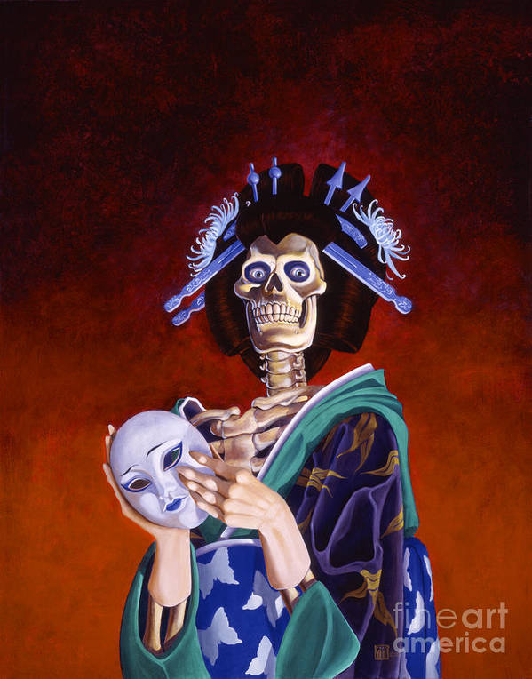 Skeleton Art Print featuring the painting Skeletal Geisha With Mask by Melissa A Benson