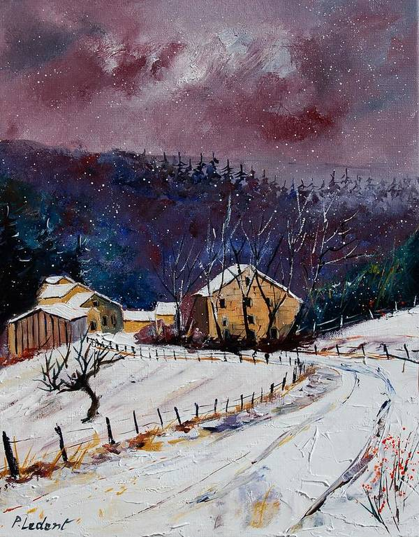 Landscape Art Print featuring the painting Snow In Sechery by Pol Ledent