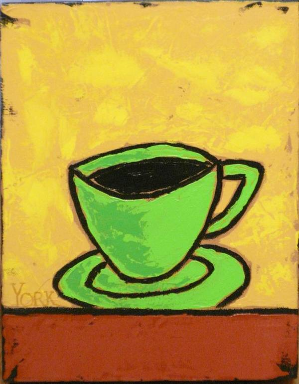Coffee Art Print featuring the painting Solo Coffee II by Ron York