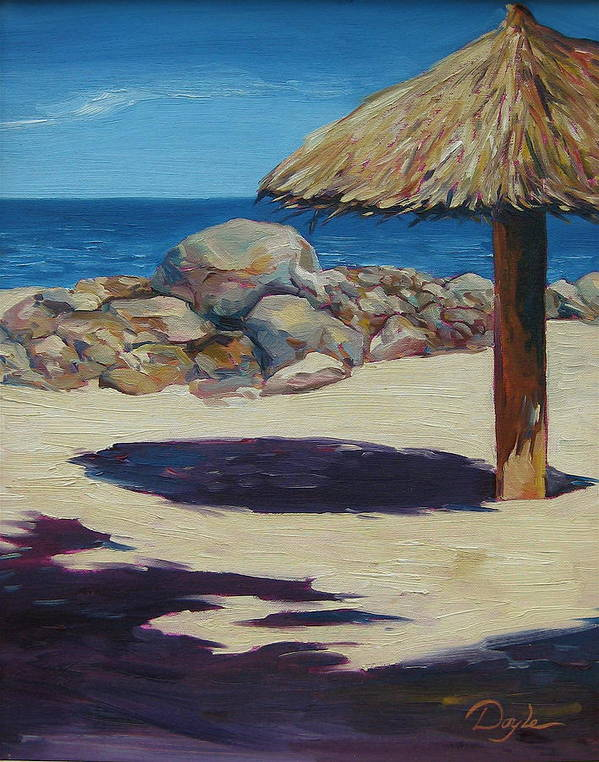Ocean Art Print featuring the painting Solo Palapa by Karen Doyle