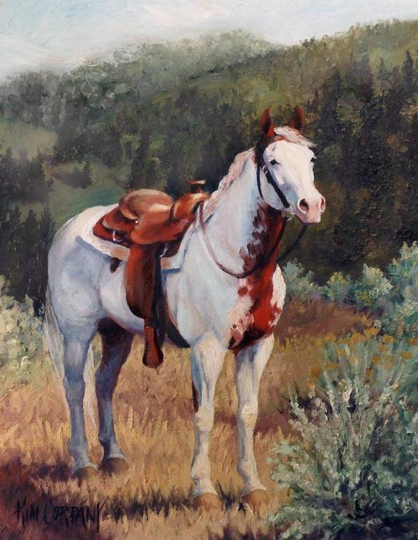Paint Art Print featuring the painting Sophie Flinders Paint Mare Horse Portrait Painting by Kim Corpany