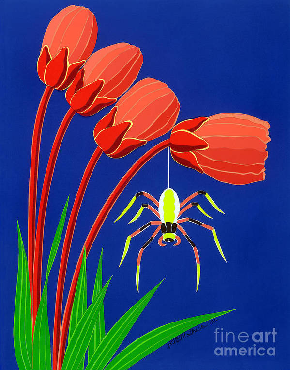 Nature Art Print featuring the drawing Spider by Lucyna A M Green