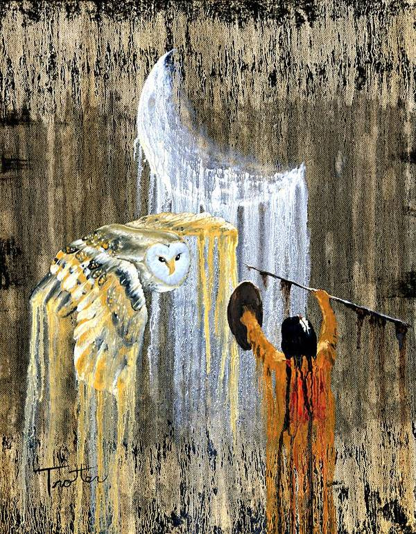 Indian Art Art Print featuring the painting Spirit Of The Night by Patrick Trotter