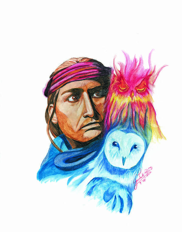 Native American Art Print featuring the drawing Spirits by Jason McRoberts