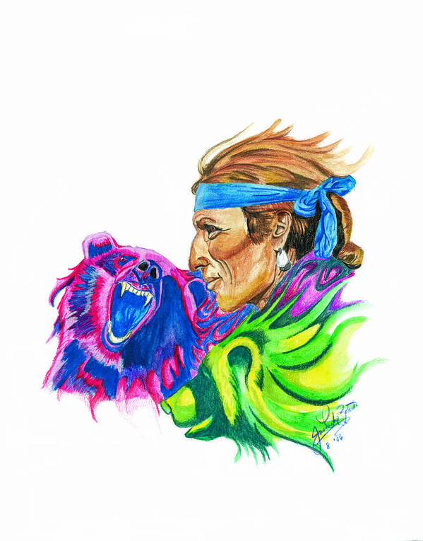 Native American Art Print featuring the drawing Spirits2 by Jason McRoberts
