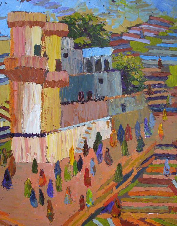 Stairs Art Print featuring the painting Stairway To Heaven Varanasi by Art Nomad Sandra Hansen