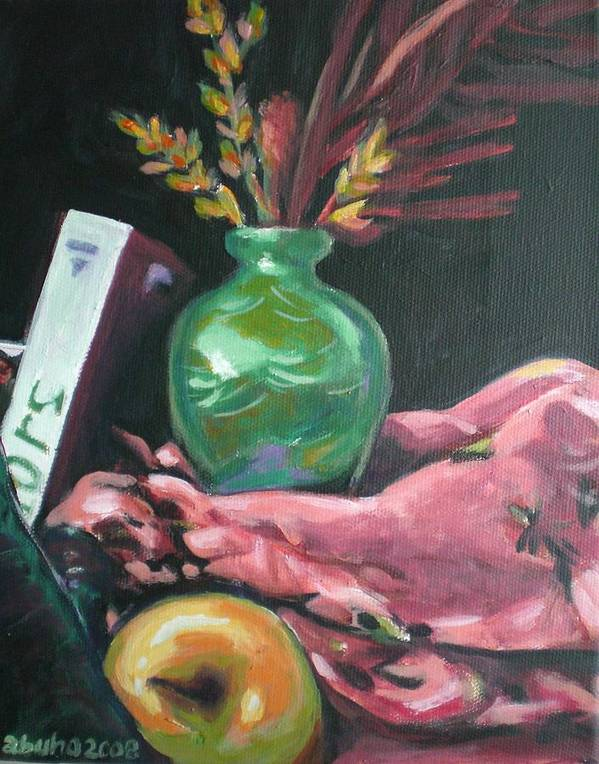 Apple Art Print featuring the painting Still Life With Apple Book And Vase by Aleksandra Buha