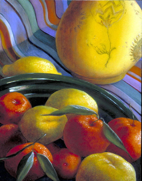 Oil Painting Art Print featuring the painting Still Life With Citrus by Nancy Ethiel