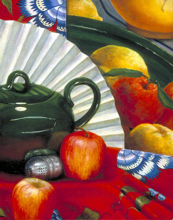 Oil Painting Art Print featuring the painting Still Life With Citrus Still Life by Nancy Ethiel