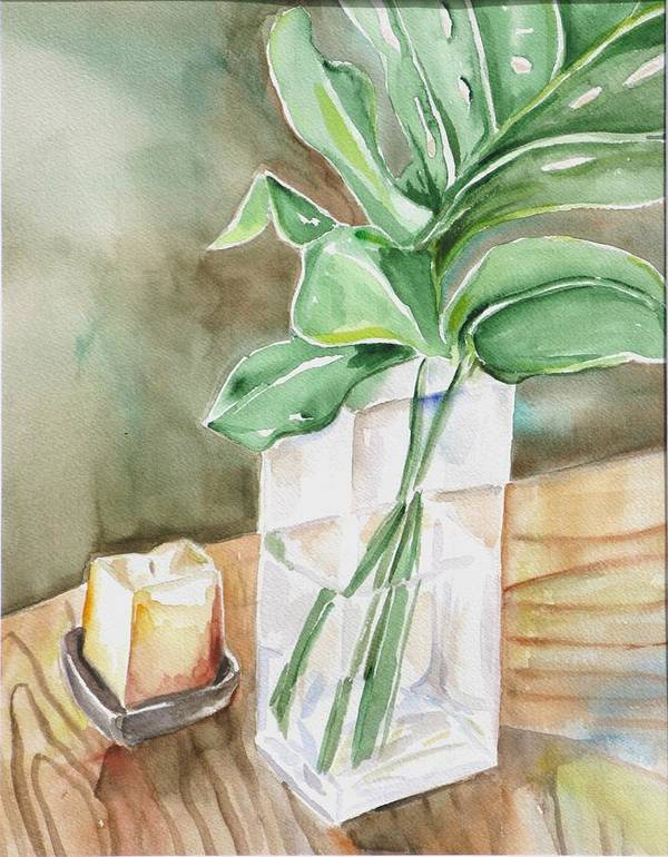 Still Life Art Print featuring the painting Still Life With Leaf by Kathy Mitchell