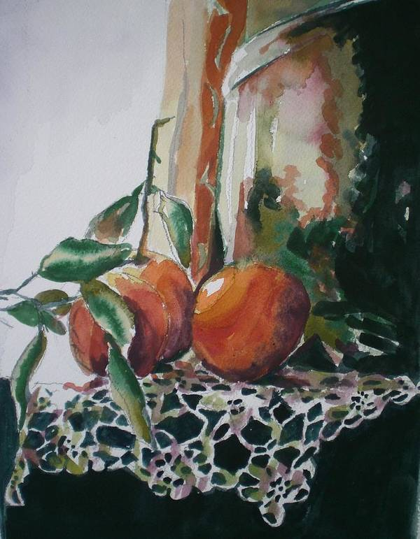 Oranges Art Print featuring the painting Still Life With Oranges by Aleksandra Buha