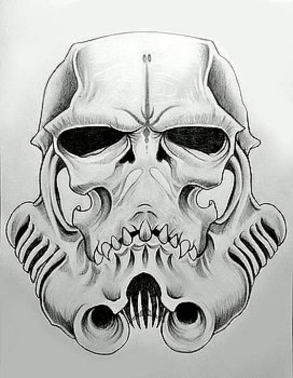 Storm Trooper Skull Art Print