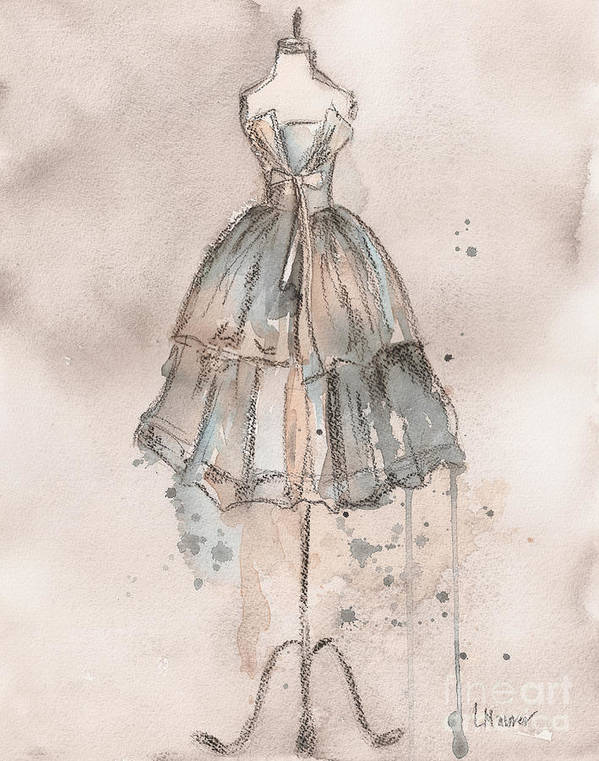 Vintage Dress Art Print featuring the painting Strapless Champagne Dress by Lauren Maurer