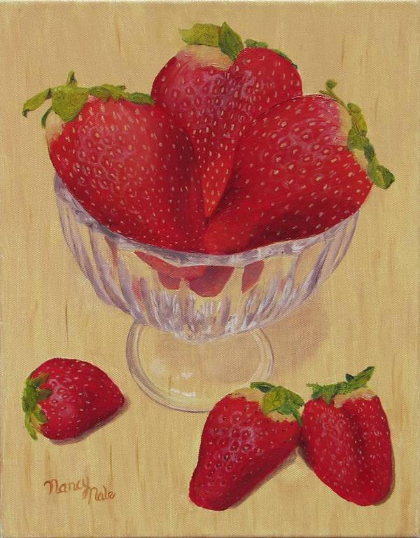 Strawberry Art Print featuring the painting Strawberries In Crystal Dish by Nancy Nale