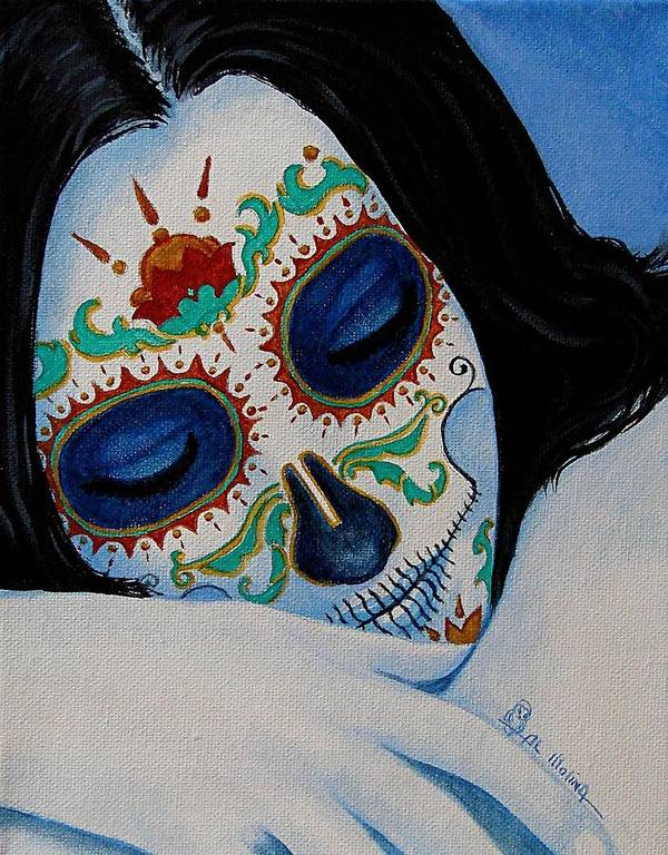 Dia De Los Muertos Art Print featuring the painting Suenos Pacificos by Al Molina