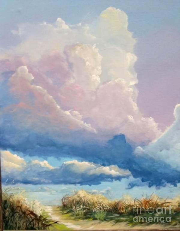 Landscape Art Print featuring the painting Summer Clouds by John Wise